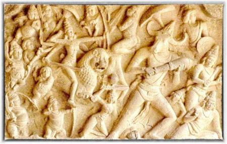 Mahishasurmardini on a rock-cut panel at Mahabalipuram
