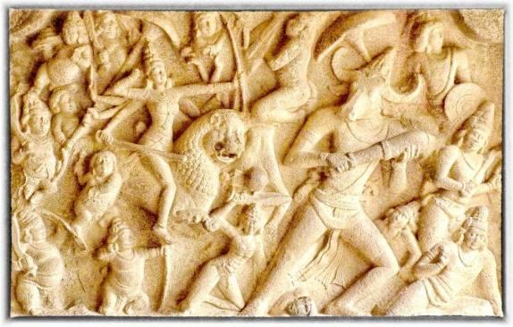 Mahishasurmardini on a rock-cut panel at Mahabalipuram