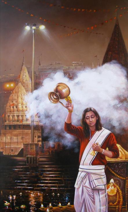 Banaras-Ghat1-Aarti-Artist-Subir Kumar