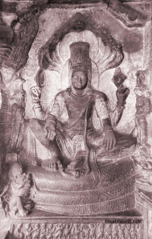 Seated Vishnu-Badami cave 3